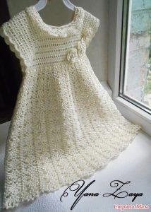 Vestido bautismo a crochet y ganchillo.