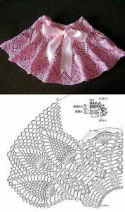 Imagen de falda a crochet y ganchillo rosa