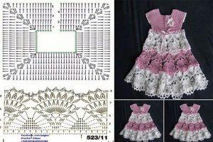 Imagen vestidito rosa y blanco crochet