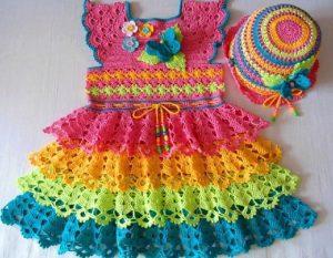 Vestido a colores crochet ganchillo Majovel lana paso a paso, DIY