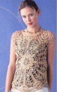 Blusa flores color ocre crochet