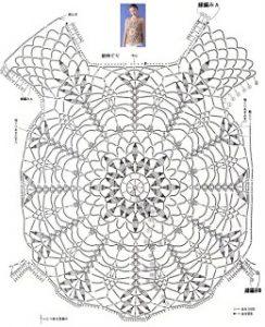 Blusa flores color ocre crochet patrón 2