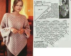 Imagen del poncho color ocre a crochet
