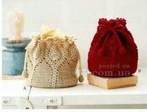Bolsas ocre y roja crochet y ganchillo