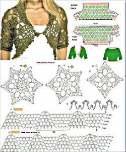 Precioso bolero verde a crochet y ganchillo
